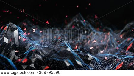 Abstract Technology Background. Cyber Technology Ai Tech Wire Network Futuristic Wireframe. Artifici