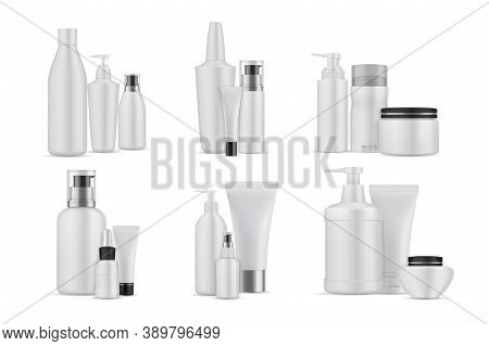 Realsitic Cosmetic Bottles Set. Collection Of Realism Style Drawn Plastic Packages For Beauty And Sk