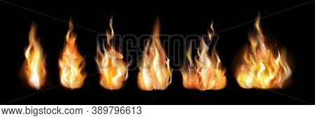 Realistic Fire Flames Set. Collection Of Realism Style Drawn Blazing Isolated Orange Campfire Flames