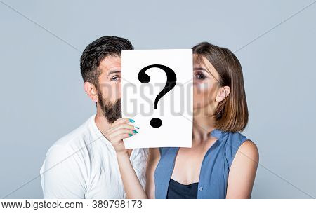 Anonymous, Man And Woman Question. Kiss Couple, Incognita. Problems And Solutions. Couple In Quarrel