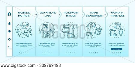 Changing Gender Roles Onboarding Vector Template. Hard Working Mothers. Housework Division. Responsi