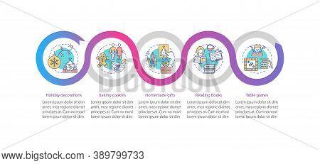 Christmas Vacation Ideas Vector Infographic Template. Decor, Homemade Gifts Presentation Design Elem
