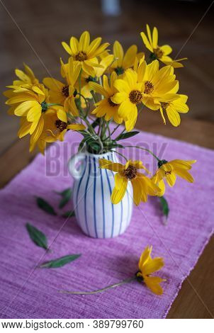 Yellow Dahlias Flowers In Vase. Flower In Vase On Table. Flowers For Postcard And Home Decoration. B