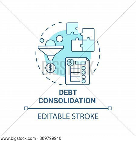 Debt Consolidation Concept Icon. Mortgage Refinance Benefit Idea Thin Line Illustration. Multiple Ba