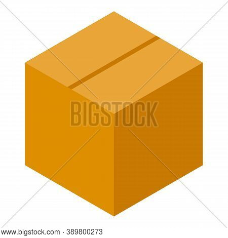 Closed Parcel Box Icon. Isometric Of Closed Parcel Box Vector Icon For Web Design Isolated On White