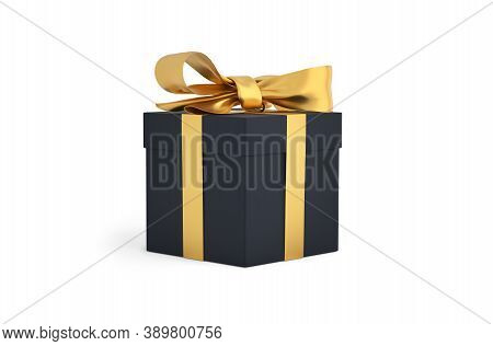 Christmas Gift Black Box Tied With Gold Ribbon. Birthday Gift With Love. Happy Celebration Present.