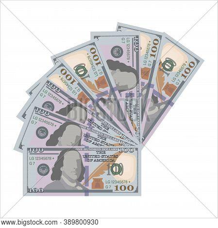 Hundred Dollar Bills. Vector Money Background. Dollar Pattern. American Money Sign. Business Concept