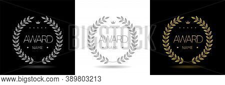 Award Icons. Golden, Silver And Grey Laurel Wreath Labels. Insignia Signs, Prize Icons, Trophy Signs