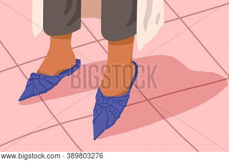 Woman Blue Mules With Flat Sole. Bare Female Feet In Casual Acute Toe Court Shoes. Stylish Elegant S