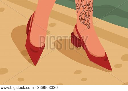 Woman Red Casual Acute Toe Shoes With Low Square Heel. Female Feet With Tattoo In Stylish Elegant Op