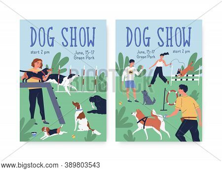 Advertising Posters For Dog Agility Show. Cynologist Training Performance At Playground. Vertical Pl