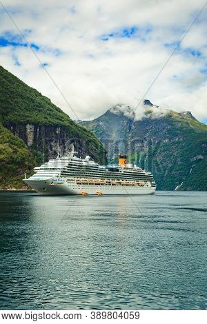 Geiranger, Norway - July 9, 2018: The Cruise Ship Costa Favolosa On Fjord Geirangerfjord In Norwegia
