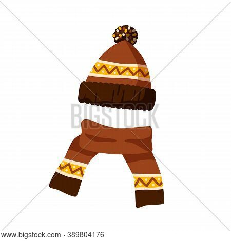 Ornamented Knitted Childish Bobble Hat And Scarf. Winter Hat With Pompom For Children. Flat Vector C