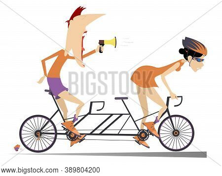 Cyclist And Coach Rides A Tandem Bike Illustration. Strict Trainer With Megaphone And Cyclist Woman