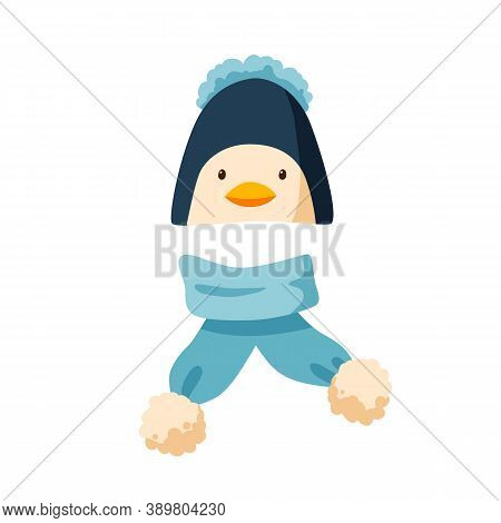 Childish Bobble Hat And Plush Scarf. Winter Penguin Cap With Pompom For Children. Flat Vector Cartoo