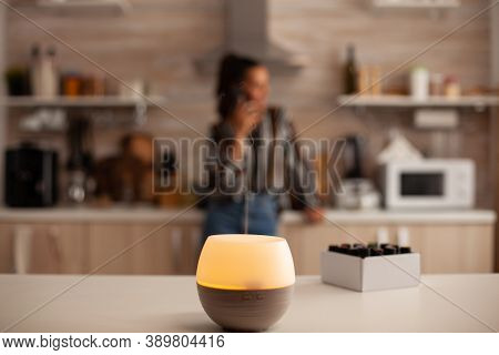 Home Relaxation With Aromatherapy From Oil Diffuser. Aroma Health Essence, Welness Aromatherapy Home