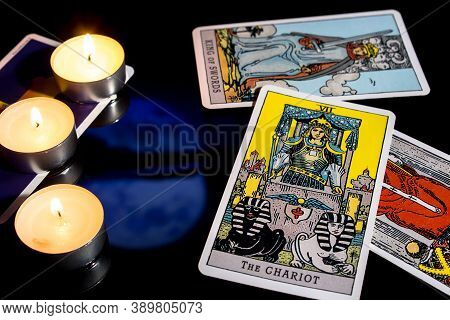 Bangkok,thailand,november.13.19: Tarot Cartomancy. Cards For Divination On A Black Background With T
