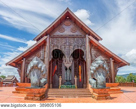 Wat Somdet Phu Ruea Ming Muang: In Front Of The Temple Built Of Teak Wood And There Is A Beautiful V