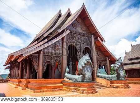 Wat Somdet Phu Ruea Ming Muang (temple) Front View Of The Ubosot, Built With Fine Wood. A Church Mad