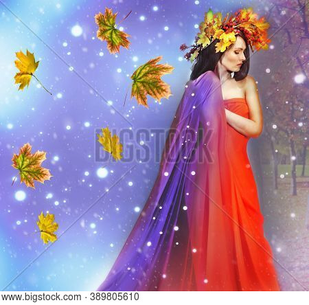 Cycle seasons of conceptual woman fashion. Dream of snowflakes and autumn leaves. Hello winter goodbye fall concept.