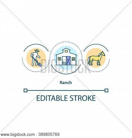 Ranch Concept Icon. Farmhouse Idea Thin Line Illustration. Quarter Horse. Ranch-type House. Farming