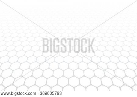 Hexagons pattern. White textured background. Diminishing perspective view.
