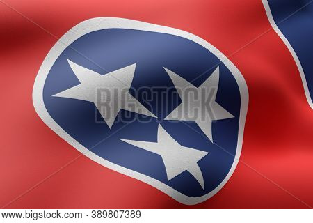 3d Rendering Of A Detailed And Textured Tennessee Usa State Flag