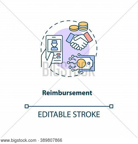 Reimbursement Concept Icon. Telemedicine Challenges. Future Healthcare Payment. Medical Treatment Id