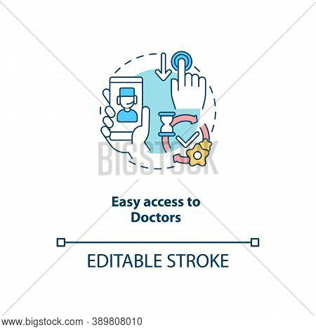 Easy Access To Doctors Concept Icon. Telemedical Consultation Steps. Fast Medical Help. Remote Healt