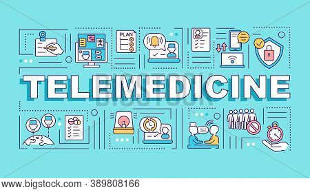 Telemedicine Word Concepts Banner. Remote Clinical Services. Real-time Consultation. Infographics Wi