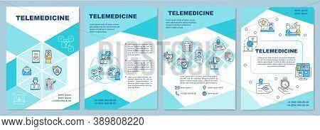 Telemedicine Brochure Template. Remote Healthcare Services Delivery. Flyer, Booklet, Leaflet Print,