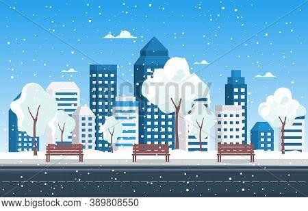 Winter Snow Tree Snowfall City Building Landscape Illustration