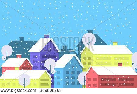 Winter Snow Tree Snowfall City House Landscape Illustration