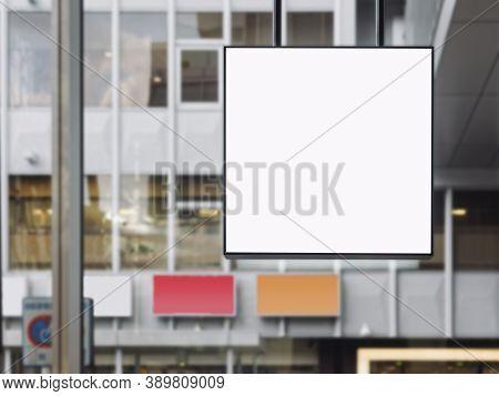 Mock Up Signboard Blank Square Frame Shop Display Modern Building Background