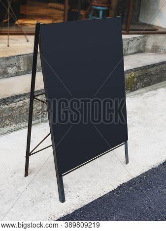 Mock Up Menu Blank Blackboard Sign Stand Shop Front Cafe Restaurant