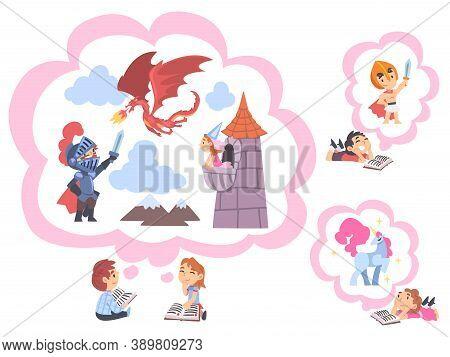 Children Reading Fairy Tail Fantasy Books, Kids Imagination Concept, Fairy Tales, Stories, Discoveri