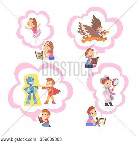 Children Reading Fairy Tail Fantasy Books About Griffin, Superhero, Detective, Kids Imagination Conc