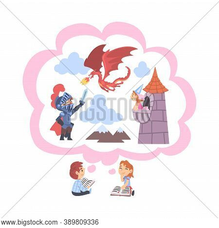 Children Reading Fairy Tail Fantasy Books About Knight And Dragon, Kids Imagination Concept, Fairy T