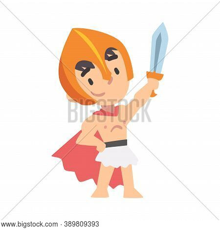 Greek Warrior Boy Character In Armour With Sword Cartoon Style Vector Illustration