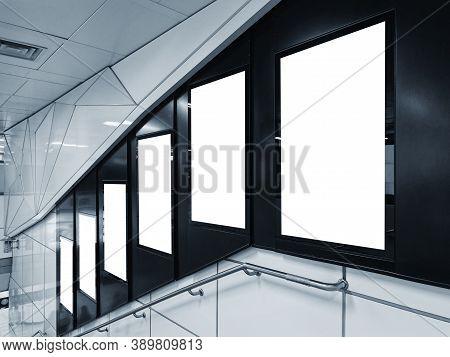 Mock Up Banners Blank Media Advertising Set Indoor Building Stairs