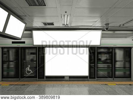 Mock Up Billboard Banner Blank Media Signage Light Box Indoor Subway Station