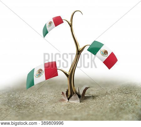 3d Illustration. 3d Sprout With Mexican Flag On White