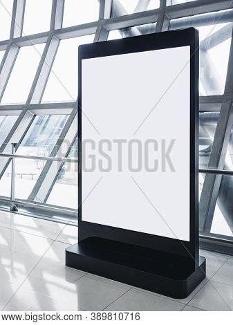 Mock Up Blank Banner Stand Public Sign Media Advertising Indoor Building