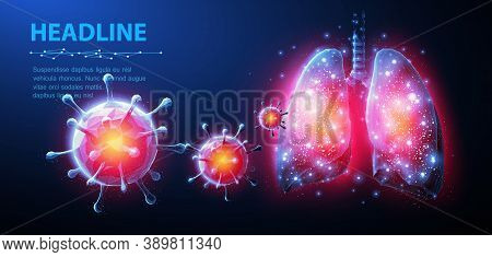 Virus And Lung. Abstract Vector 3d Corona Microbe On Lung Background. Pneumonia Virus, Covid Illnes,