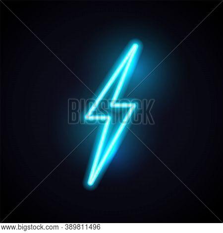 Lightening Neon Bolt. Vector Retro Flash Light. Electric Thunder 80s Style Concept.