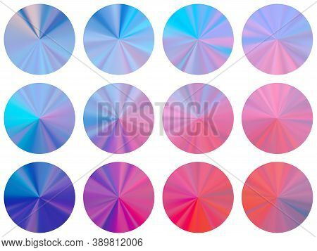 Radial Metallic Gradient Disk Elements Vector Collection. Polished Digital Swatches. Banner Metal Gr