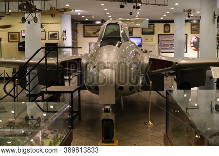 Istanbul, Turkey - September 20, 2020: De Havilland Vampire Fb 6 In Rahmi M. Koc Industrial Museum.