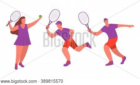 Young Girl And Man Tennis Player With Racquet A Sport Game Isolated On White Background.