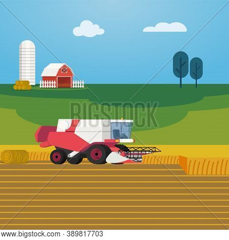Vector Illustration On Farming And Agriculture With Combine Harvester Harvesting Grain Crops. Arable