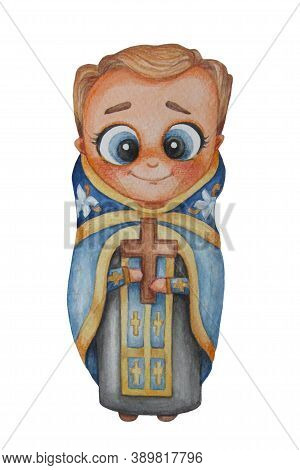 Christian Orthodoxy Priest. Watercolor. A Adorable Male Priest Stands In Blue Vestments And Holding